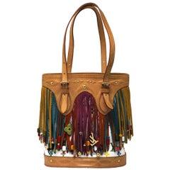 Louis Vuitton White Monogram Multi-color Fringe Bucket Bag with Pouch
