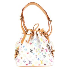 LOUIS VUITTON white Monogram Multicolore PETITE NOE Bucket Bag
