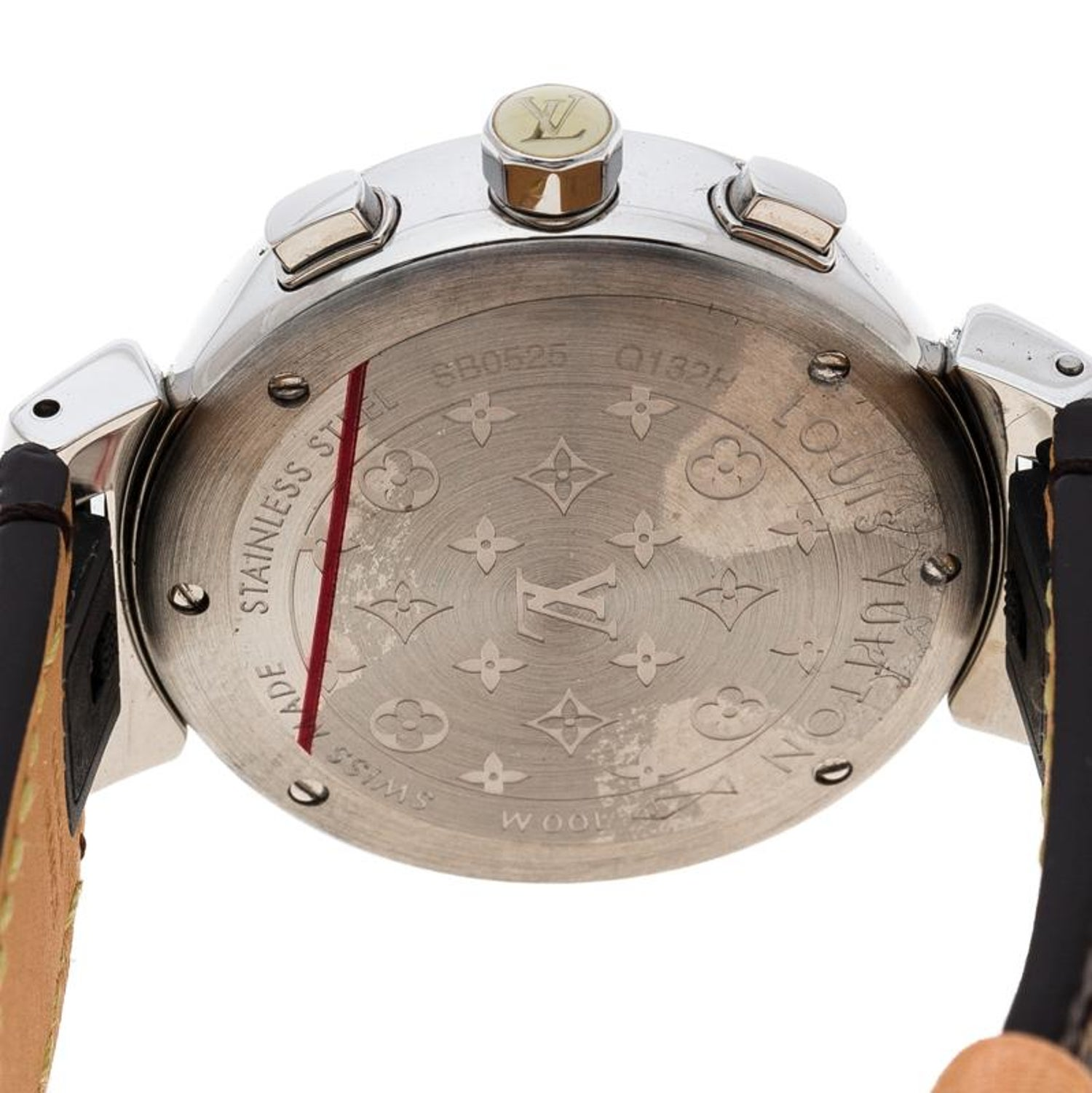 35bb28f395a8 Louis Vuitton White Mother of Pearl Stainless Steel Diamonds Tambour Q132H  Women For Sale at 1stdibs