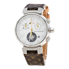 Louis Vuitton White Mother of Pearl Stainless Steel Diamonds Tambour Q132H Women