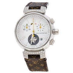 Louis Vuitton White Mother of Pearl Tambour Q132H Women's Wristwatch 34 mm