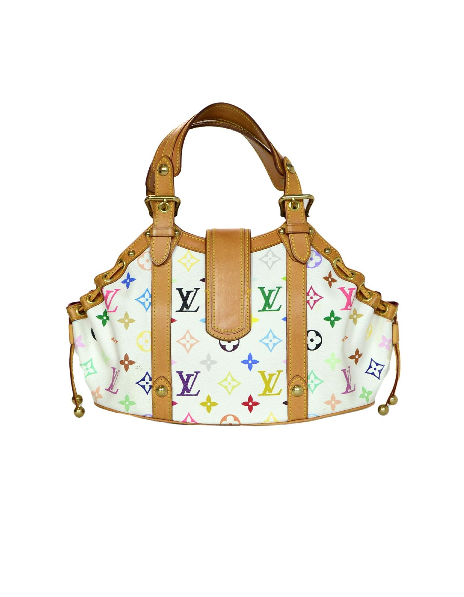 2015fcf1c217 Louis Vuitton White Multi-Color Leather Canvas LV Monogram Theda GM Bag For  Sale at 1stdibs
