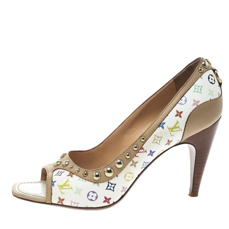 Women's Louis Vuitton White Multicolor Monogram Canvas and Leather Studded Peep Toe Pump For Sale