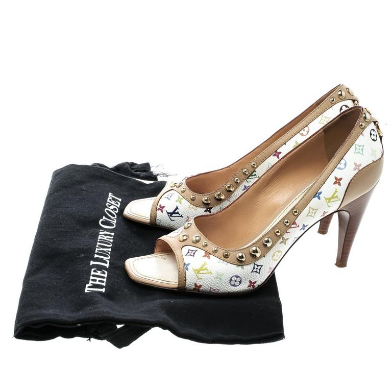 Louis Vuitton White Multicolor Monogram Canvas and Leather Studded Peep Toe Pump For Sale 1