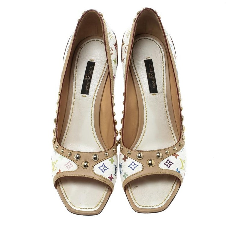 450bebe1ce17 Louis Vuitton White Multicolor Monogram Canvas and Leather Studded Peep Toe  Pump For Sale