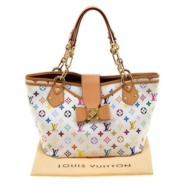 Louis Vuitton White Multicolor Monogram Canvas Annie GM Bag For Sale 8