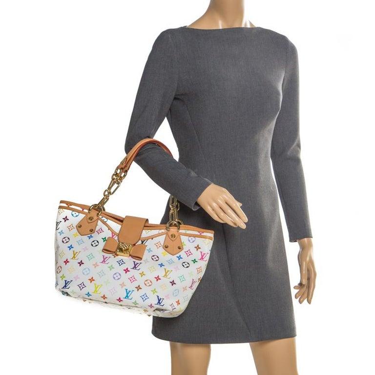 Louis Vuitton White Multicolor Monogram Canvas Annie GM Bag In Excellent Condition For Sale In Dubai, Al Qouz 2