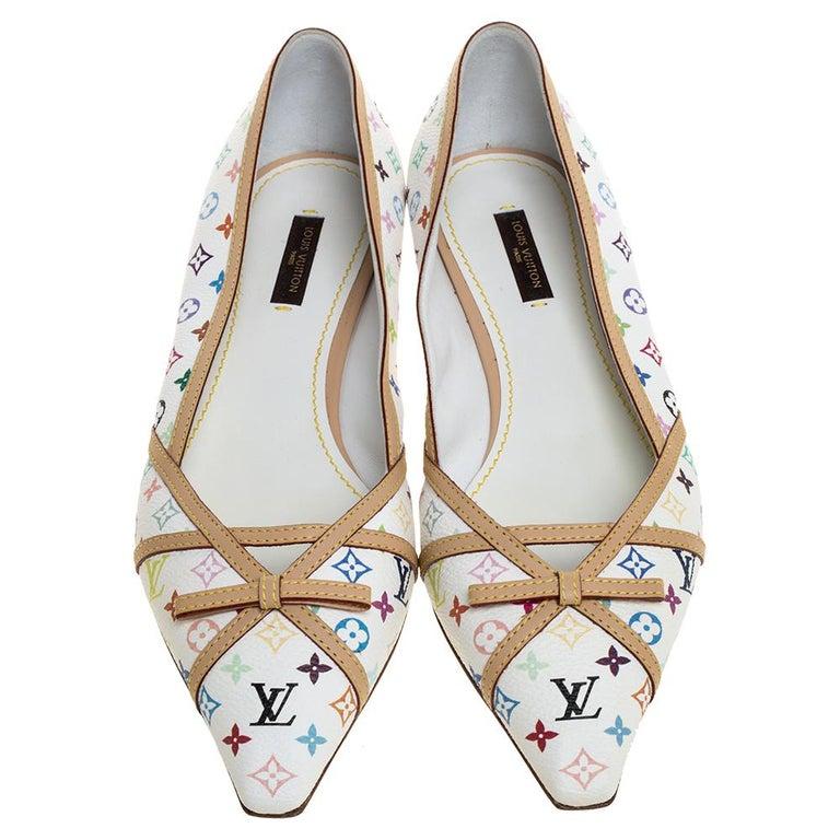 Gray Louis Vuitton White Multicolor Monogram Canvas Flats Size 39 For Sale