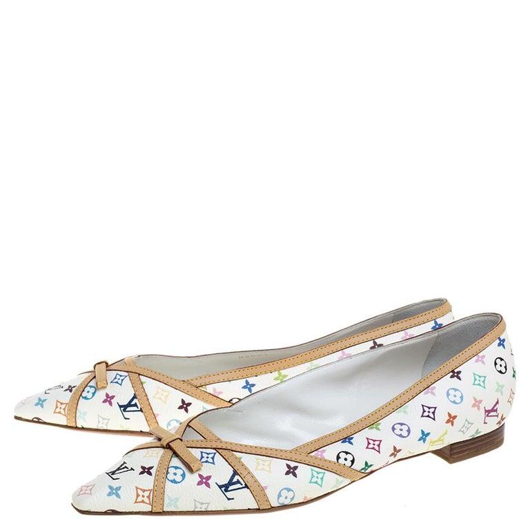 Women's Louis Vuitton White Multicolor Monogram Canvas Flats Size 39 For Sale