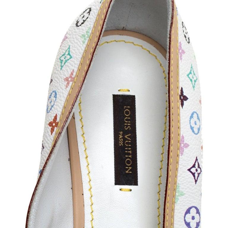 Louis Vuitton White Multicolor Monogram Canvas Flats Size 39 For Sale 1