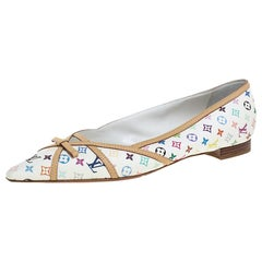 Louis Vuitton White Multicolor Monogram Canvas Flats Size 39