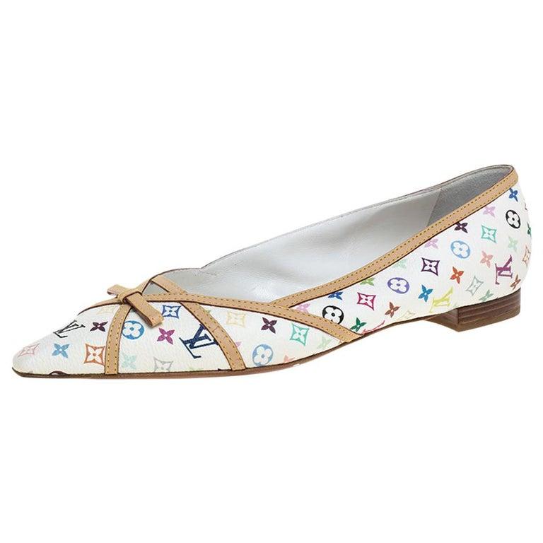 Louis Vuitton White Multicolor Monogram Canvas Flats Size 39 For Sale