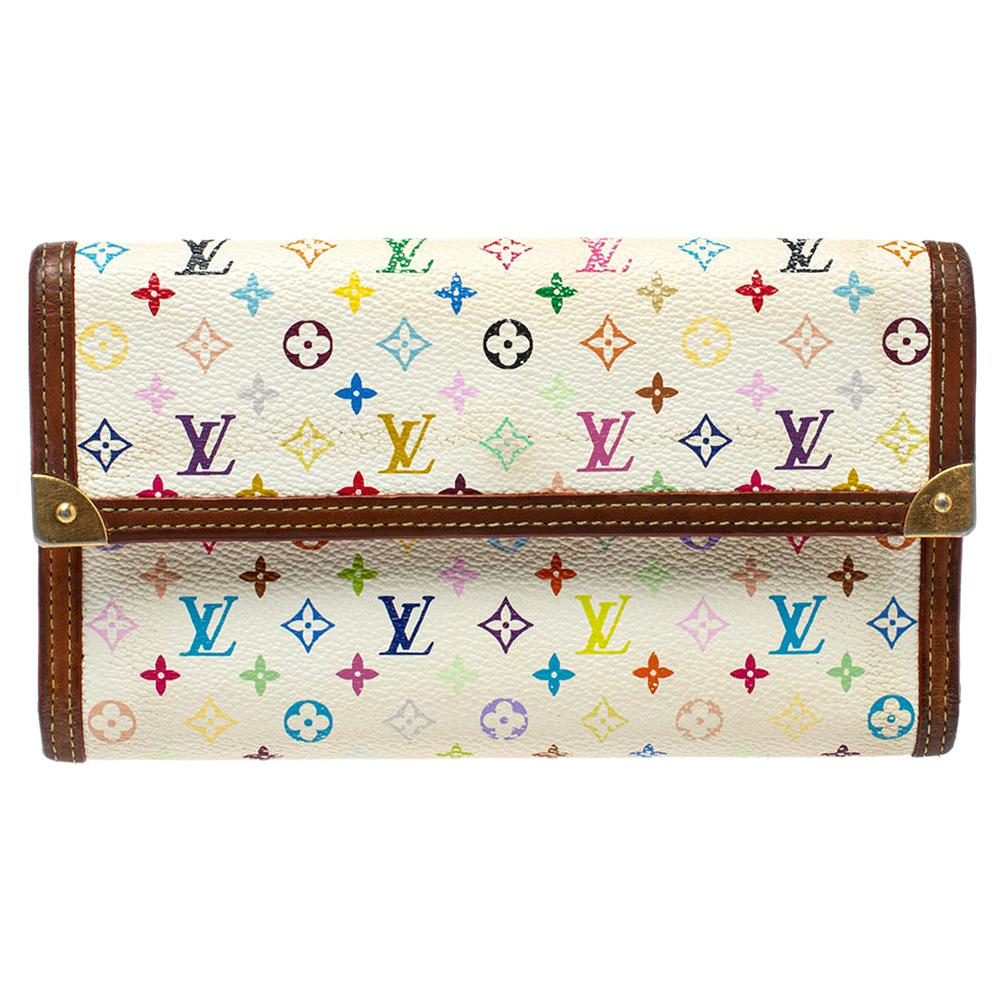 Louis Vuitton White Multicolor Monogram Canvas Porte Tresor International Wallet