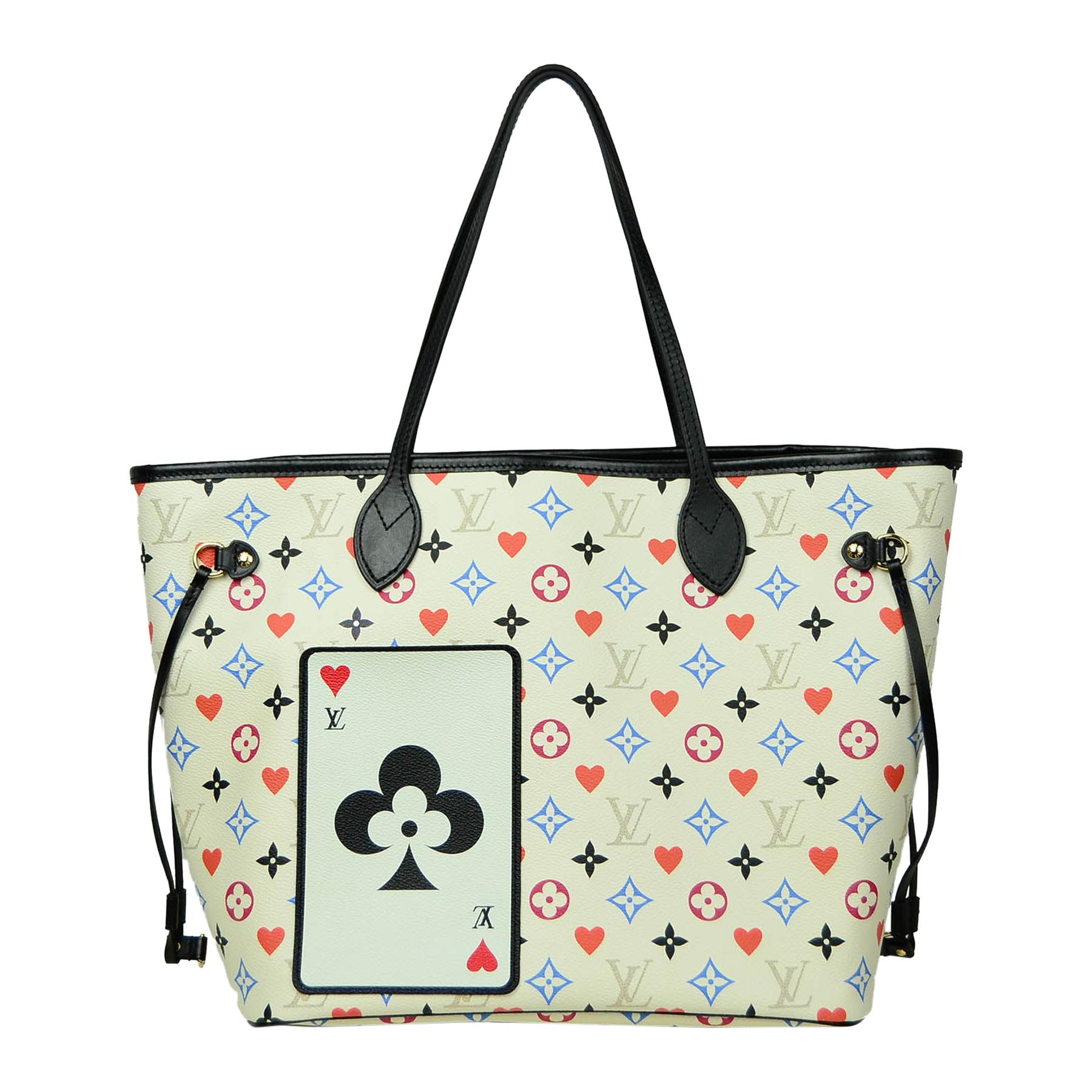Louis Vuitton White Multicolor Monogram Game On Neverfull MM Tote Bag