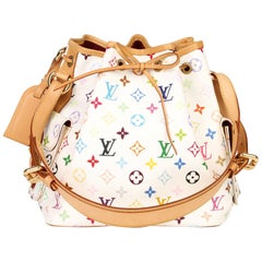 Louis Vuitton White Multicolore Coated Canvas & Vachetta Leather Petit Noé