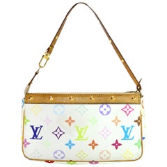 Louis Vuitton White Multicolore LV Monogram Pochette Bag