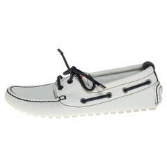 Louis Vuitton White/Navy Blue Leather Lace Up Derby Loafer Size 41.5
