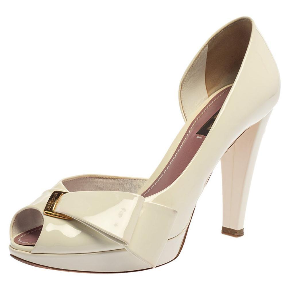 Louis Vuitton White Patent Leather Apple Peep Toe Pumps Size 37.5