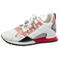 Louis Vuitton White/Pink Mesh And Leather Run Away Sneakers Size 39