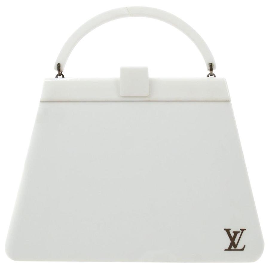 Louis Vuitton White Plastic Leather Top Handle Satchel Kelly Style Bag