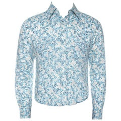 Louis Vuitton White Printed Cotton Blend Long Sleeve Shirt S
