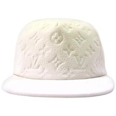 Louis Vuitton White Ss19 Virgil Abloh Leather Blanc Baseball Cap 870232 Hat