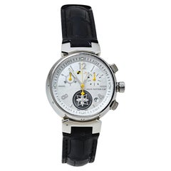 Louis Vuitton White Stainless Steel Tambour Lovely Women's Wristwatch 34 MM