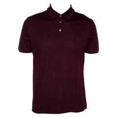 Louis Vuitton Wine Cotton Pique Polo T Shirt L