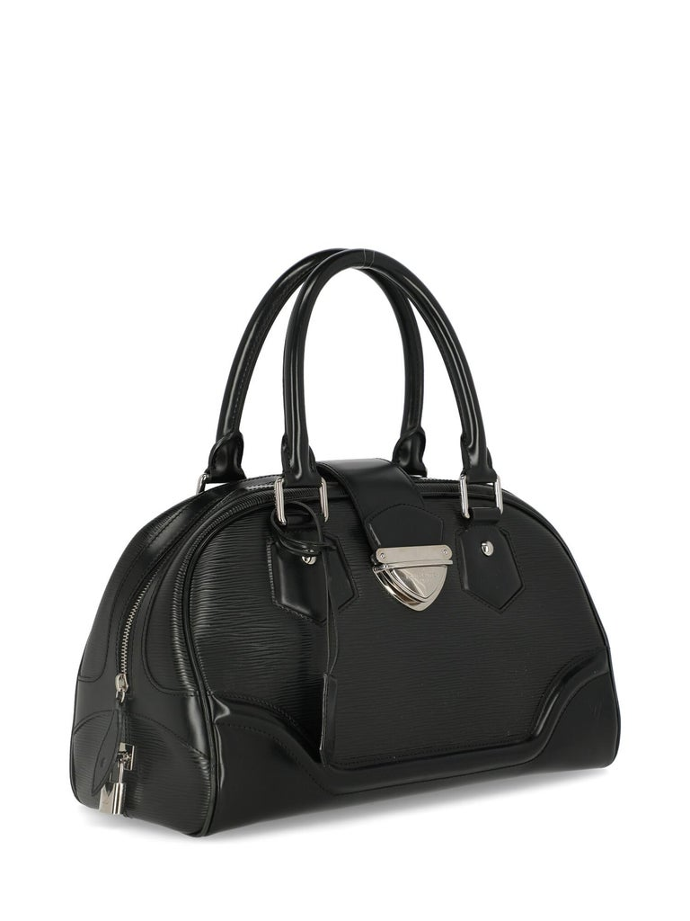 Louis Vuitton Woman Handbag Montaigne Black Leather In Fair Condition For Sale In Milan, IT