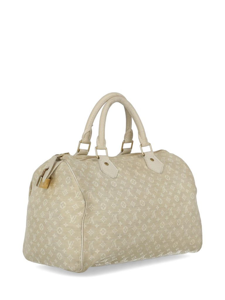 Louis Vuitton Woman Handbag Speedy 30 Beige Fabric In Good Condition For Sale In Milan, IT