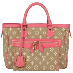 Louis Vuitton Women's Tote Bag Monogram Cabas Beige/Pink/White Cotton