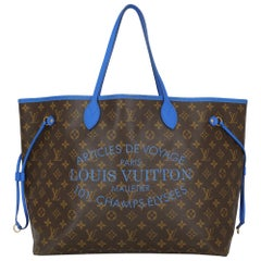 Louis Vuitton Women's Tote Bag Neverfull Brown/Navy Fabric