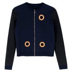 Louis Vuitton Wool Blend Navy Eyelet Zip Up Cardigan - Size US 4