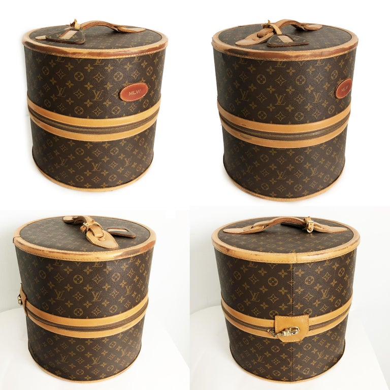 Extremely rare Louis Vuitton x The French Luggage Company Wig Case or Round Hat Trunk, circa the 70s.  Made from Louis Vuitton's signature monogram canvas and created in the USA under special license by The French Luggage Company, this piece is