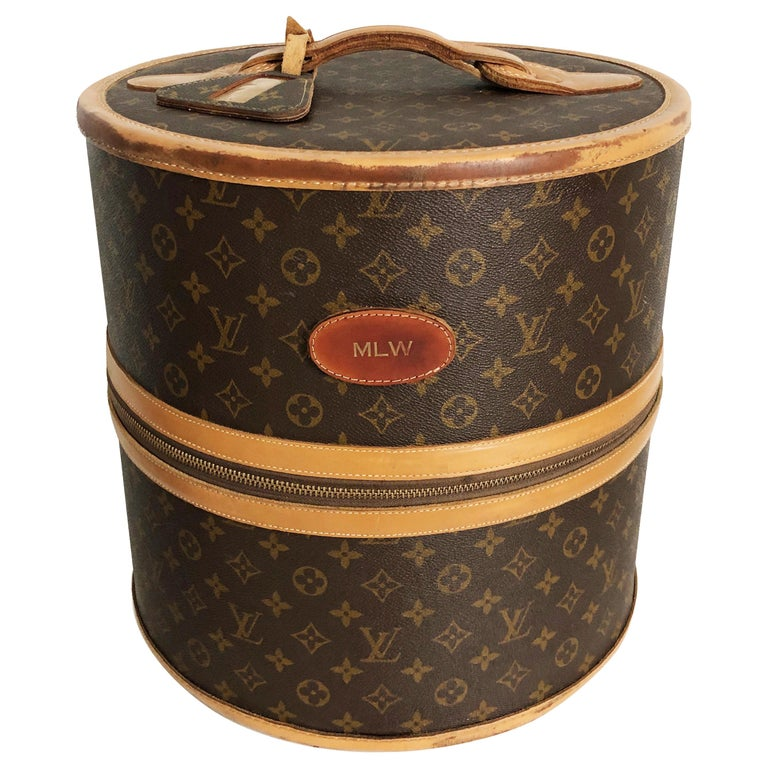 Louis Vuitton x French Company Monogram Wig Case Round Hat Trunk Travel Bag 70s For Sale