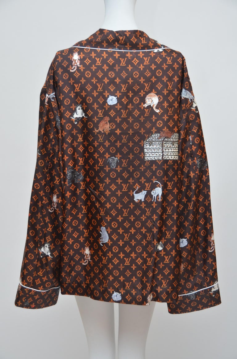 LOUIS VUITTON X  Grace Coddington Collaboration  Catogram Silk shirt New with tags attached. photographed on mannequin size 2US. This piece is meant to look oversized. LV hanger and dust-bag included. Size 40   FINAL SALE