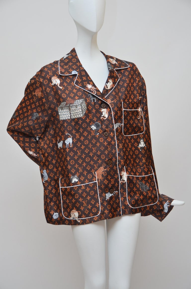 Black LOUIS VUITTON X  Grace Coddington  Catogram  Silk Shirt   Size 40 New For Sale