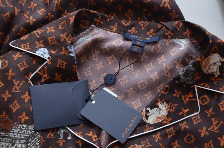 LOUIS VUITTON X  Grace Coddington  Catogram  Silk Shirt   Size 40 New For Sale 1