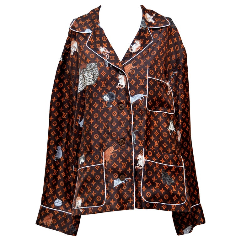 LOUIS VUITTON X  Grace Coddington  Catogram  Silk Shirt   Size 40 New For Sale