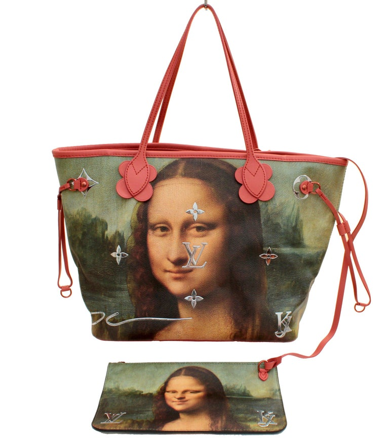 From the Louis Vuitton x Jeff Koons Limited Edition Masters Collection, here is the da Vinci Monalisa Neverfull MM tote bag in Poppy. Sold out at the boutiques and perfect for the Louis Vuitton collector! Comes with a removable clutch that can be