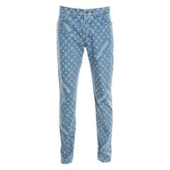 Louis Vuitton x Supreme Blue Monogram Jacquard Denim Jeans M