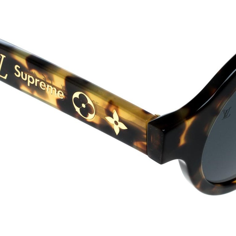 Louis Vuitton x Supreme Brown / Black Z0990W Downtown Round Sunglasses For Sale 2
