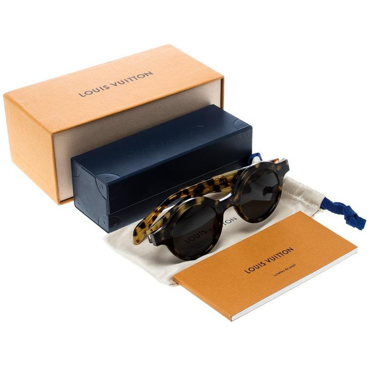 Louis Vuitton x Supreme Brown / Black Z0990W Downtown Round Sunglasses For Sale 3