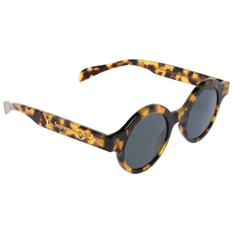 Louis Vuitton x Supreme Havana Brown / Grey Z0990W Downtown Round Sunglasses For Sale