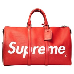 Louis Vuitton X Supreme Limited Edition Red Epi Bandouliere Duffle Keepall 45