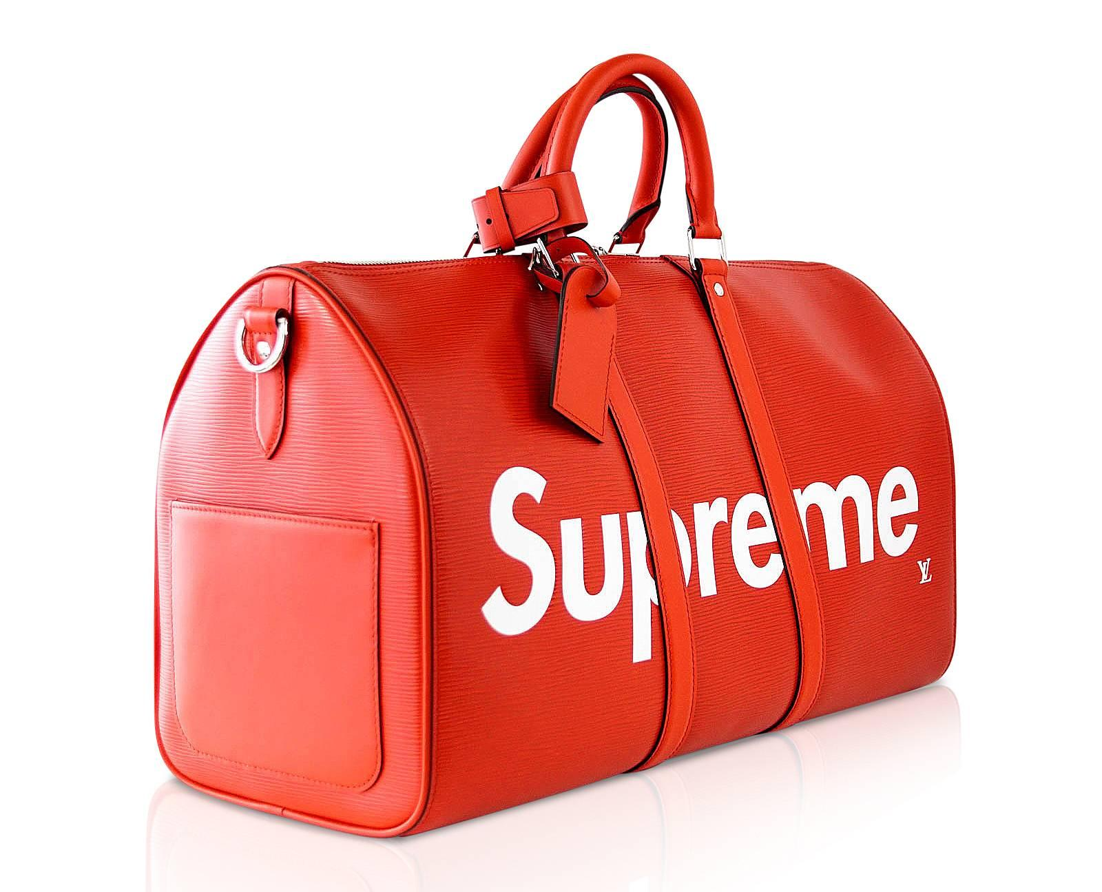 ea71f9d45abd Louis Vuitton X Supreme Red Epi Keepall Bandouliere Duffle Bag 45 For Sale  at 1stdibs