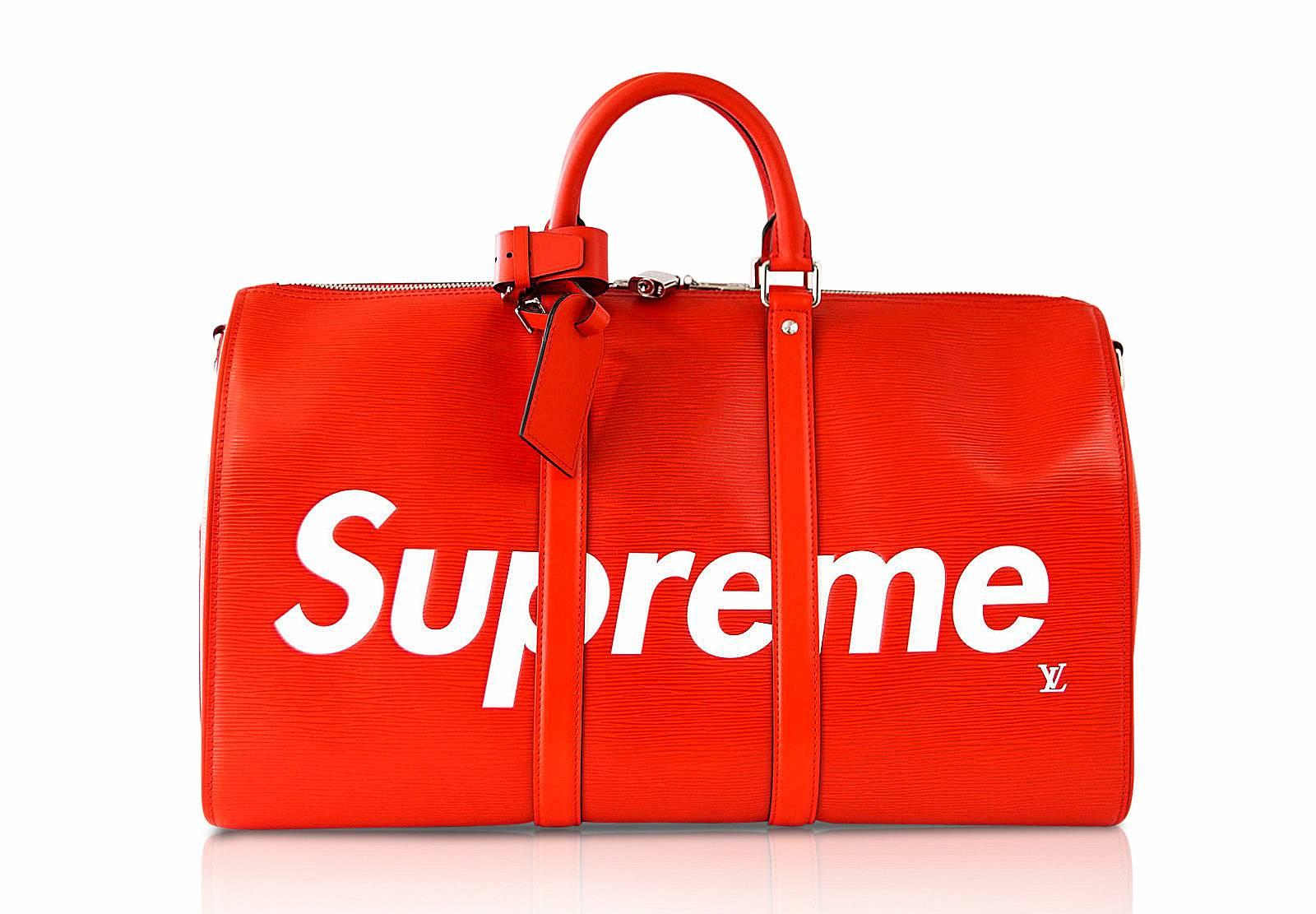 5acd40ee3ba Louis Vuitton X Supreme Red Epi Keepall Bandouliere Duffle Bag 45 For Sale  at 1stdibs