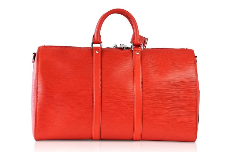 Louis Vuitton X Supreme Red Epi Keepall Bandouliere Duffle Bag 45 For Sale 4