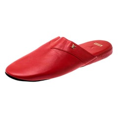 Louis Vuitton x Supreme Red Leather Hugh Flat Slippers Size 42