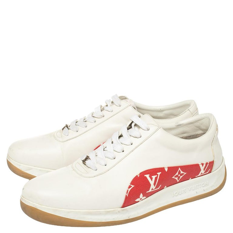 Women's Louis Vuitton x Supreme White Leather and Monogram Canvas Trim Sport Sneakers Si For Sale